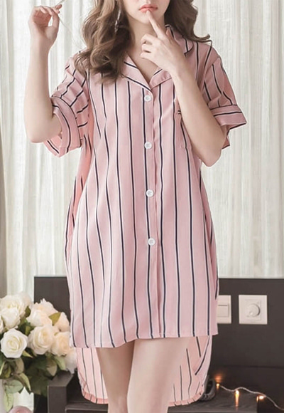 (수입) Pink Stripe 셔츠 Pajamas SET